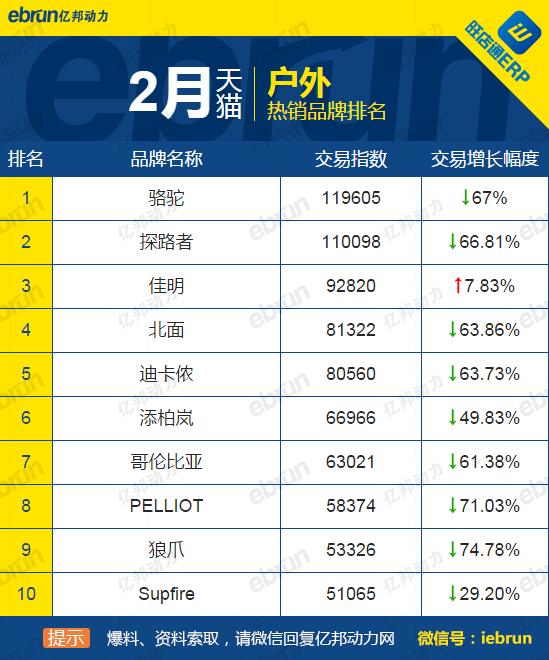 淘宝top是什么意思_盘点:2月天猫淘宝全网热销品牌top10